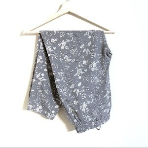 Gap Gray and White Floral Utility Pants, Medium